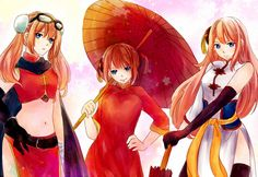 Kagura Yato, Gintama. Young and older versions.