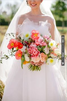 Pink, peach and white loose wedding bouquet designed by The Little Branch   VIA #WEDDINGPINS.NET