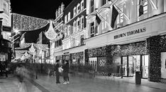 Brown Thomas On Grafton Street At Night - Dublin Print by Barry O Carroll Photographer Portfolio, Travel Photographer, Grafton Street, Dublin City, Black And White Photography, Landscape Photography, Ireland, Instagram Images, Night