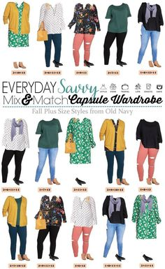 I love this new Old Navy plus size capsule wardrobe fall. It includes colored jeans, fun printed tops, and a great dress! via Size Herbstmode für die Schule Plus Size Fall Fashion - Old Navy Plus Size Capsule Wardrobe Fall - Everyday Savvy Plus Size Fall Outfit, Plus Size Fall Fashion, Dress Plus Size, Curvy Fashion, Plus Size Outfits, Autumn Fashion, 40s Fashion, Petite Fashion, Fashion Fashion