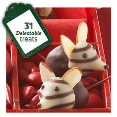 These Christmas mice are one of our favorite holiday candies! See how to make these and more Christmas treats: http://www.midwestliving.com/food/holiday/delectable-christmas-candies-and-treats/?page=1
