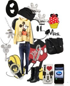 """Mickey disney outfit"" by kiera-mae on Polyvore -- Love it!! But I'd trade out the skinny jeans."