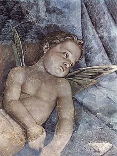 Andrea Mantegna (Italian painter, c Putti from a Fresco in the Palazzo Duccale, Mantua, I'm obsessed with this cute little angel. He looks kind of sad though Andrea Mantegna, La Madone, I Believe In Angels, Renaissance Paintings, Angels Among Us, Italian Painters, Italian Renaissance, Italian Art, Angel Art