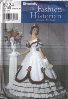 Martha McCain Civil War Dress Two Piece Ball Gown Historical Costume Size 14 16 18 20 Sewing Pattern 2002 Simplicity 5724 op Etsy, 18,86 €