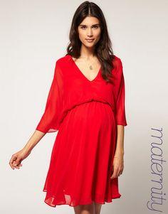Love the color.MATERNITY Chiffon Kaftan Dress