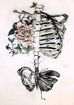 ... hipster indie Grunge creative flower skeleton bones arty le-classe