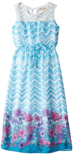 Speechless Big Girls' Border Print Dress with Lace Yoke, Turquoise/Purple, 7