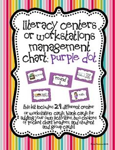 Literacy Centers or Workstations Management Chart: Purple Dot