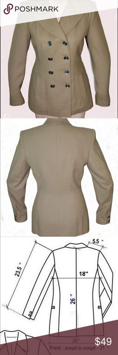 """Women's Wool, La Valexo Roma, Tan Color Jacket # 6 This classic double breasted suit jacket is made from 100% wool. Satin lined. Please check measurements listed below as well as photo #3.                                                          Bust - 39"""",   Hips - 42"""".    WILL fit for size 8 too.     Color can be subjective and can also be viewed differently on different monitors .   There is 1-2% difference according to manual measurements. La Valexo Roma- New York Jackets & Coats Blazers"""