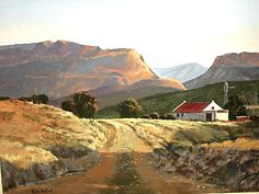 Karoo sunlight - by Rika De Klerk. The Karoo is a semi-desert in South Africa. Landscape Art, Landscape Paintings, Landscape Photography, Peaceful Places, Beautiful Places, Namibia, South African Artists, Out Of Africa, Beautiful Paintings