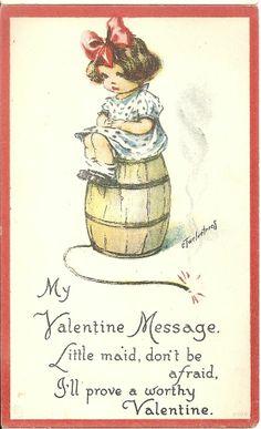 Charles Twelvetrees Valentines Day Postcard My Valentine Message Little Maid