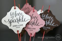 Sparkler Tags - Let Love Sparkle - Wedding Favor Tags Script Custom with Names and Date - Personalized For Sparklers (Set of 24) Heart Style by marrygrams on Etsy https://www.etsy.com/uk/listing/263991570/sparkler-tags-let-love-sparkle-wedding
