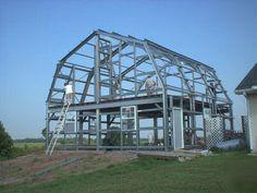 Gambrel Steel Building | Steel gambrel home building kit, 2 floor 3600 sq ft