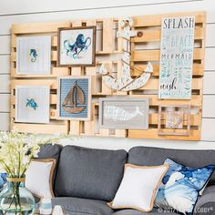 Give your space beach house vibes by mixing neutral and navy accent pieces.