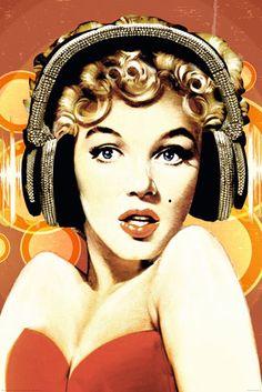 Marilyn Monroe Headphones Regular Poster measuring cm Fast shipping from Sydney, Australia. Marilyn Monroe Artwork, Marilyn Monroe Life, Messy Hair Up, Pop Art, Pin Up, Psychedelic Tapestry, Best Kisses, Norma Jeane, Arte Pop