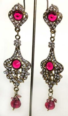 "GORGEOUS JAIPURI BRIDAL SUIT JEWELLERY BOLLYWOOD FAUX_KUNDAN 4.5"" LONG EARRINGS #Unbranded"