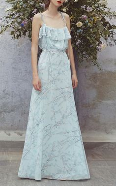 Printed Full Length Flounce Dress by LUISA BECCARIA for Preorder on Moda Operandi