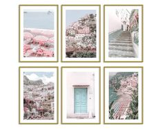 Positano Italy Prints Set of 6 Travel Gallery Wall Art Pastel Home Decor Travel Gallery Wall, Travel Wall Art, Pink Wall Art, Wall Art Decor, Wall Art Prints, Teen Wall Art, Pastel Home Decor, Pastel House, Animal Decor