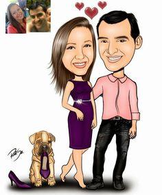 Caricaturas digitais, desenhos animados, ilustração, caricatura realista: Desenho de namorados com mascote !!