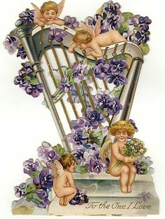 Vintage ephemera: To the one i love, Viola cherubs