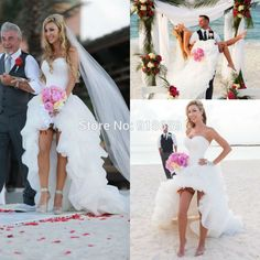 Find More Wedding Dresses Information about Hot Hi Lo Draped Short Front Long Back Beach Wedding Dresses 2015 Sexy A Line Bridal Gown Dress Cheap,High Quality dresses rompers,China dress gardenia Suppliers, Cheap dress boho from Rosemary Bridal Dress on Aliexpress.com