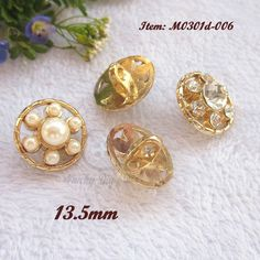 Find More Buttons Information about 50pcs High Quality Golden flower pearls  rhinestone metal shirt buttons 5a0240b3ddd9
