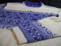 Vintage Meister Wool Blend Nordic Ski Crew Neck Sweater womens M Blue Ivory #Meister #Crewneck