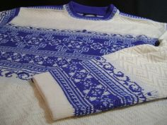 Vintage Meister Wool Blend Nordic Ski Crew Neck Sweater womens M Blue Ivory #Meister #Crewneck