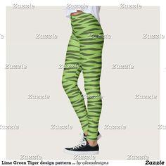 Lime Green Tiger design pattern leggings Ultra-stretch ecopolyester spandex blend (88% polyester, 12% spandex)  #spandex #yoga #yogapants #gymnastics #workout #fashion #tiger #cheer #cheerleading #cheerleader #allstars #giftideas