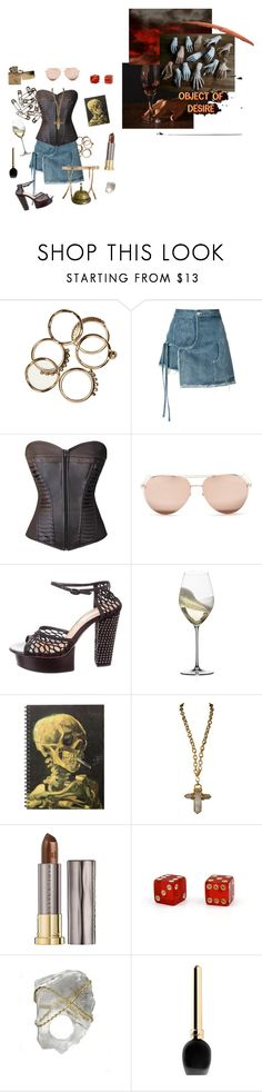 """""""Filth and Fire"""" by vulture95 ❤ liked on Polyvore featuring Advantus, Sandy Liang, Linda Farrow, Nina Ricci, Riedel, Chanel, Urban Decay, Kara Ross, Guerlain and Mimi Holliday by Damaris"""