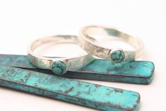 Genuine Turquoise Cabachon Hammered Sterling Ring Thumb Ring by AuraleeCompany