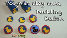 How to make buttons out of polymer clay (duckling cane tutorial)