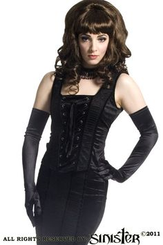 Ursula Black Velvet and Mesh Laced Bodice Top by Sinister
