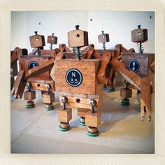 Little robots made from scrap piano parts.