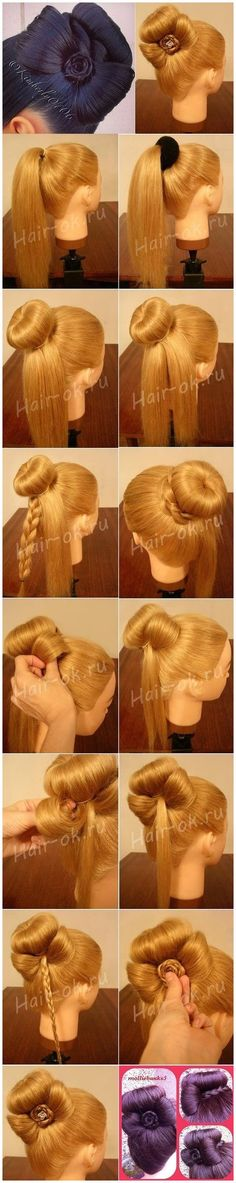 Sophisticated Bun Decorated with a Cute Bow � DIY #StylishBraidStyles #StylishBraid click now to see more...