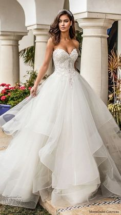 moonlight couture fall 2019 bridal strapless sweetheart embellished bodice tiered skirt a line ball gown wedding dress romantic princess chapel train mv -- Moonlight Couture Fall 2019 Wedding Dresses Princess Wedding Dresses, Best Wedding Dresses, Bridal Dresses, Romantic Princess, Couture Dresses, Bridesmaid Dresses, Bridesmaid Boxes, Wedding Outfits, Plus Size Occasion Dresses