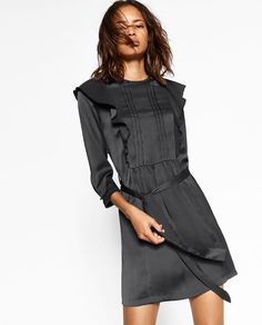 Image 2 of FRILLED SATEEN DRESS from Zara