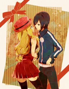 1boy 1girl black_hair black_legwear blonde_hair blue_eyes bow calme_(pokemon) eye_contact green_eyes hat holding_hands jacket long_hair looking_at_another low-tied_long_hair pleated_skirt pokemon pokemon_(game) pokemon_xy porkpie_hat serena_(pokemon) skirt sleeveless sleeveless_shirt thighhighs yuno_tsuitta zettai_ryouiki