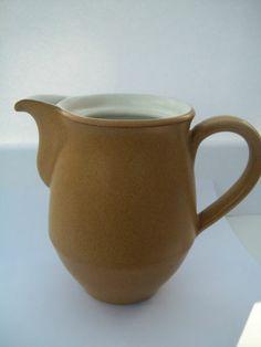 Denby Ode Coffee Pot 3/4 pint 13 cm Jug 1960's 70's Sand Beige Mustard White £6