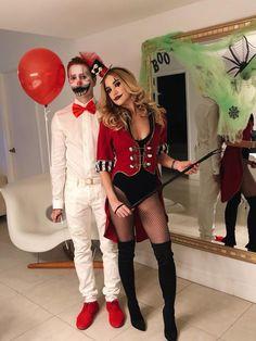 Halloween Creepy Clown/Ring Leader Costume #halloween #costumes #clownmakeup #couplescostumes #halloweeninspo #halloweenmakeup #freakshow
