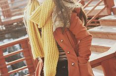over-sized yellow scarf