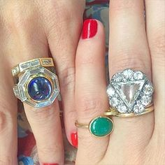 #wedding #Wednesday dedicated to the ones that got away. Sometimes we call each other and sob wordlessly over leaving our #commitment #rings behind. That's not weird  #gold #weddingwednesday #diamond #sapphire #cabochon #baguette #malachite #halo #eternity #forfuturereference #FFR