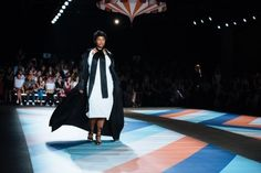 He strikes a fashion blow for larger women — but smaller models get lost in the ruffles and bright colors.
