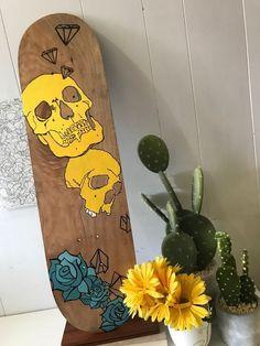 Custom Hand Painted Skateboard Deck - Wallart - skulls by ApostlesToxin on Etsy We like Bikes To Boards! Painted Skateboard, Skateboard Deck Art, Skateboard Design, Custom Skateboard Decks, Surfboard Art, Skateboard Pictures, Custom Skateboards, Cool Skateboards, Longboard Design