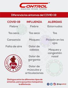 El COVID-19 es una realidad, pero juntos podemos prevenir su contagio. Te compartimos la siguiente información para que aprendamos como detectar el coronavirus y diferenciarlo de otros padecimientos. #YoSoyControl #Prevención #VidaSana #Covid19 #Salud Nasal Congestion, Dry Cough, Allergies, Healthy Life, Pharmacy, Grief, Health