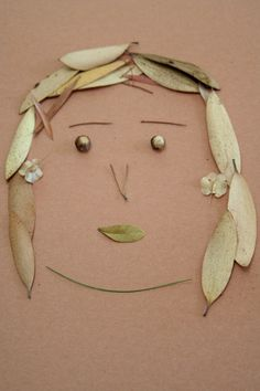 Add some fun to arts and crafts by having your child make a self portrait using nature as her palette.