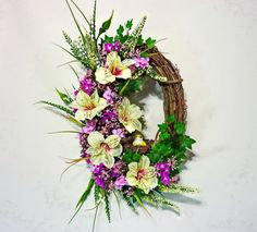 Yellow Orchid and Bird Wreath Summer Wreath for by Floralwoods, $40.00