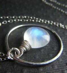 Rainbow Moonstone Necklace on Hand Forged Sterling by beadstylin