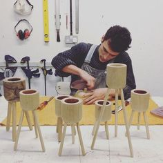 Kai came and set up his workshop in my workshop today. He's making tripod plant stands, so good.  #craft #woodwork #handturned #handmade