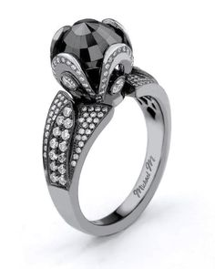 Unique black diamond ring